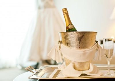 Wedding: Champagne bottle and Wedding Dress