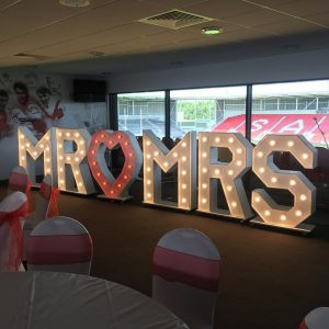 Illuminated letters, hire-able for Weddings, Parties